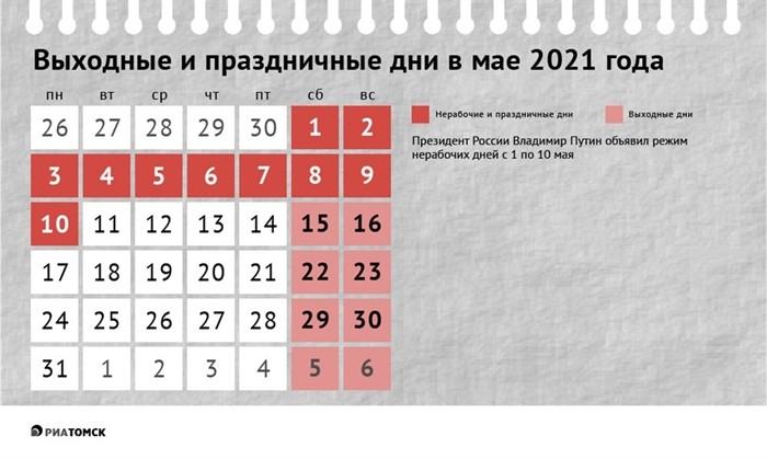 Каникулы с 1 по 11 мая 2021